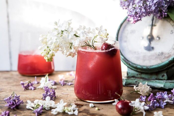 horizontal photo of Hibiscus Cherry Vodka Spritz