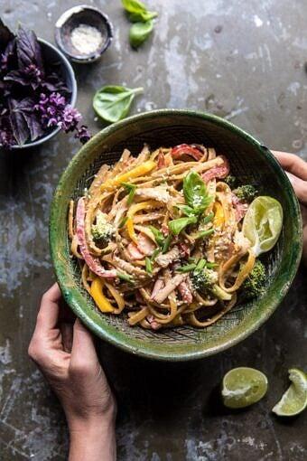 20 Minute Sesame Basil Chicken Noodles | halfbakedharvest.com #easy #healthy #summerrecipes #quick #dinner