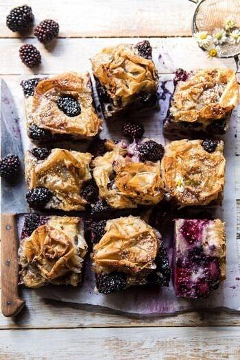 Blackberry Ruffled Milk Pie.
