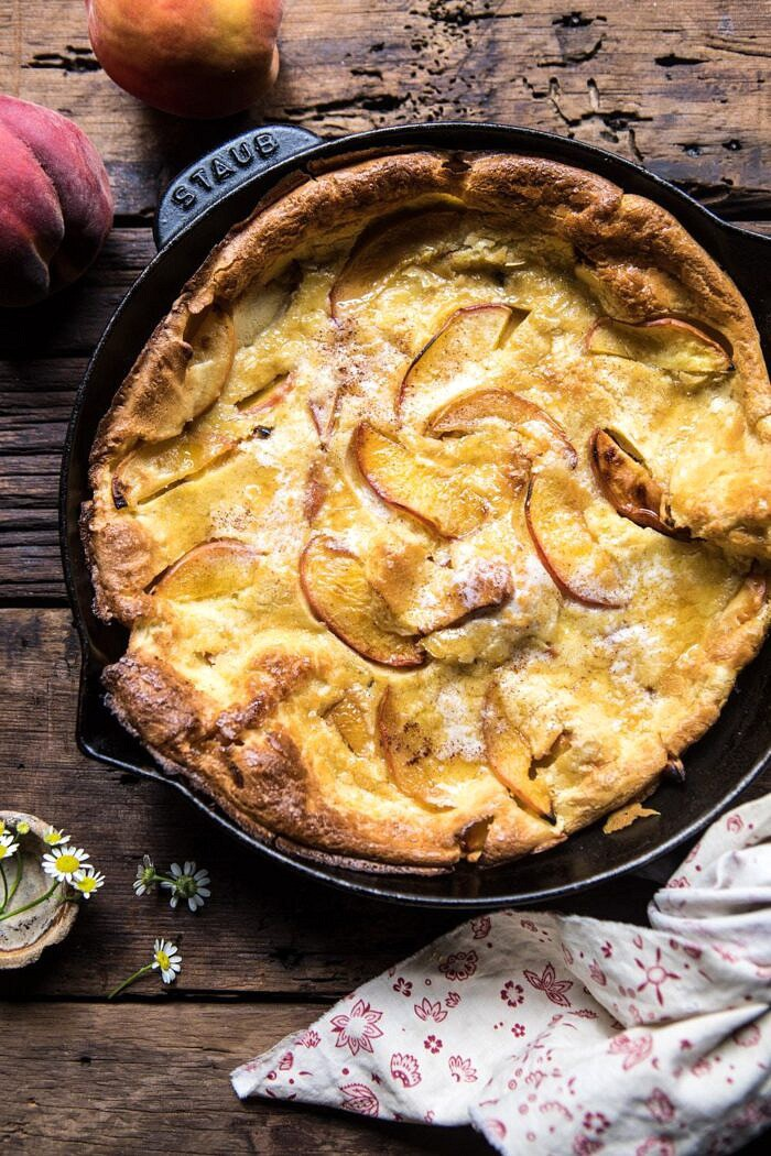 overhead photo of Browned Butter Cinnamon Peach Dutch Baby