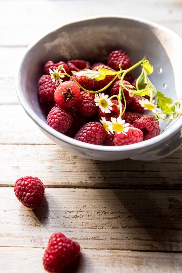 raw photo of raspberries