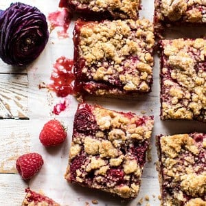 Buttery Raspberry Crumble Bars | halfbakedharvest.com #raspberry #dessert #summer #backtoschool #easyrecipes