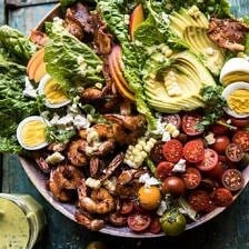Chipotle Shrimp Cobb Salad with Jalapeño Corn Vinaigrette.