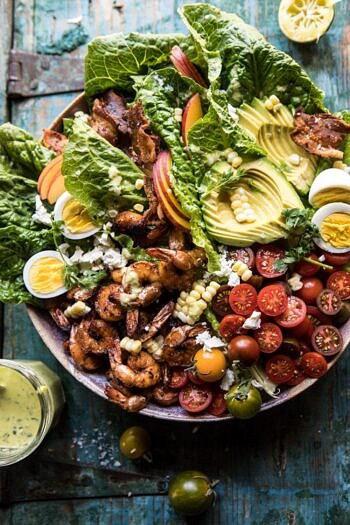 Chipotle Shrimp Cobb Salad with Jalapeño Corn Vinaigrette.