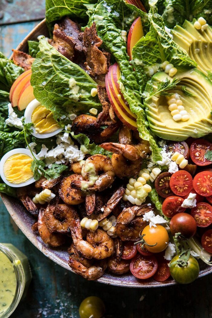 close up overhead photo Chipotle Shrimp Cobb Salad with Jalapeno Corn Vinaigrette