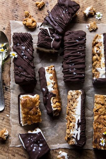 Chocolate Caramel Crunch Ice Cream Bars | halfbakedharvest.com #cereal #chocolate #icecream #dessert #summer