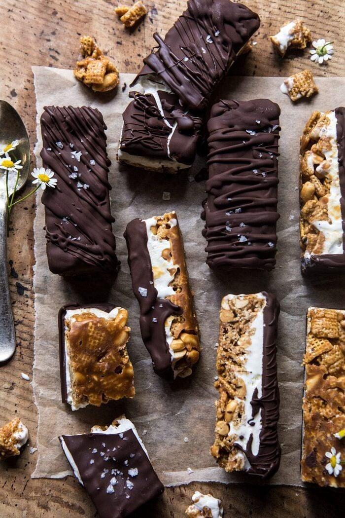 overhead photo of Chocolate Caramel Crunch Ice Cream Bars