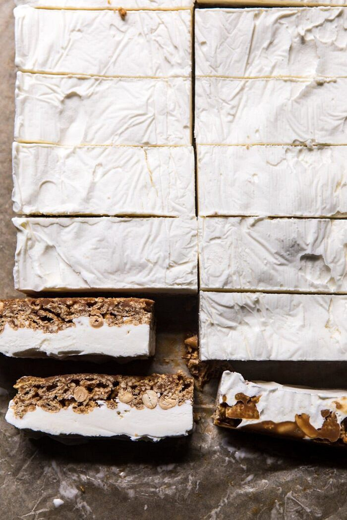 overhead photo of Chocolate Caramel Crunch Ice Cream Bars before dipping in chocolate