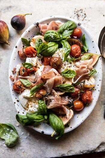 Fresh Fig, Prosciutto, and Arugula Salad with Cherry Tomato Vinaigrette | halfbakedharvest.com #summer #salad #tomatoes #burrata