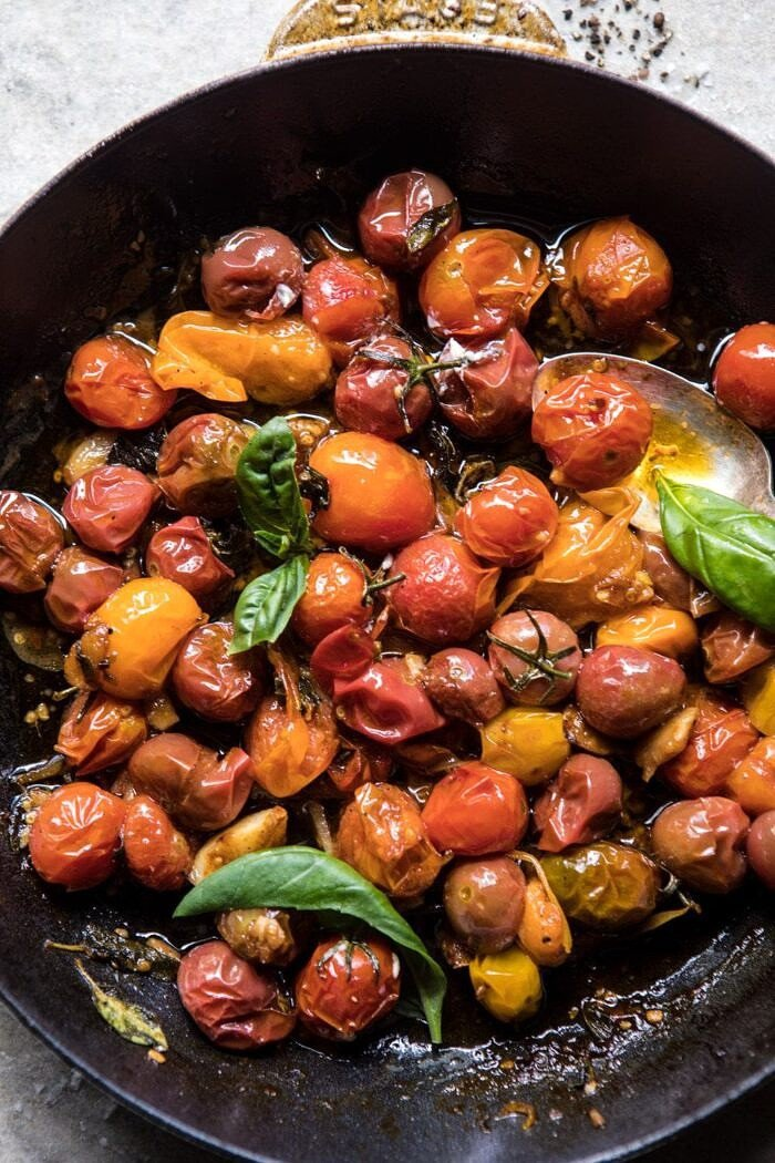 overhead photo of cherry tomato vinaigrette in skillet