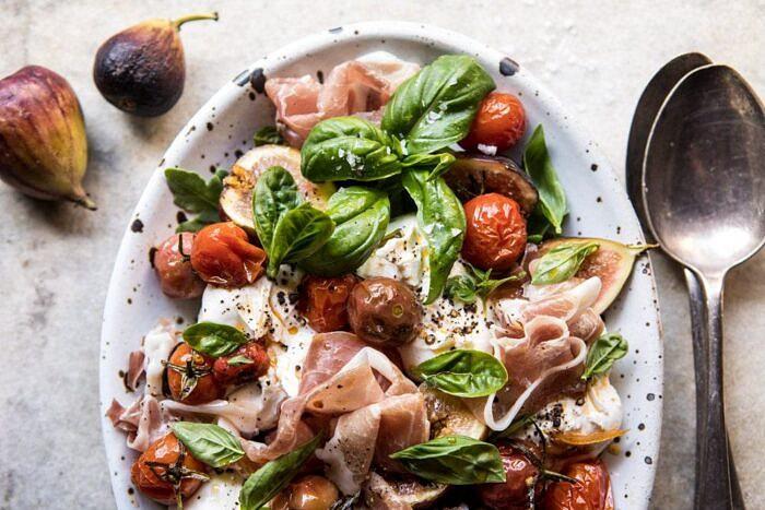 horizontal photo of Fresh Fig, Prosciutto, and Arugula Salad with Cherry Tomato Vinaigrette