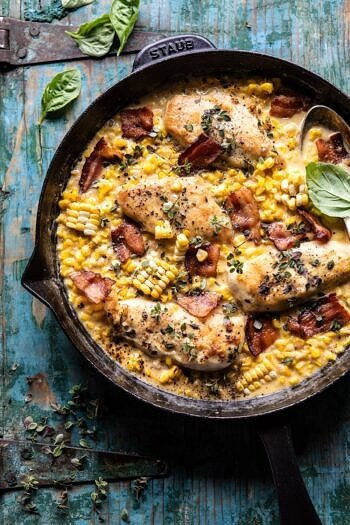 Garlic Butter Creamed Corn Chicken | halfbakedharvest.com #chicken #corn #summer #easy #dinner