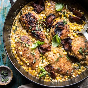 Garlic Butter Creamed Corn Chicken.