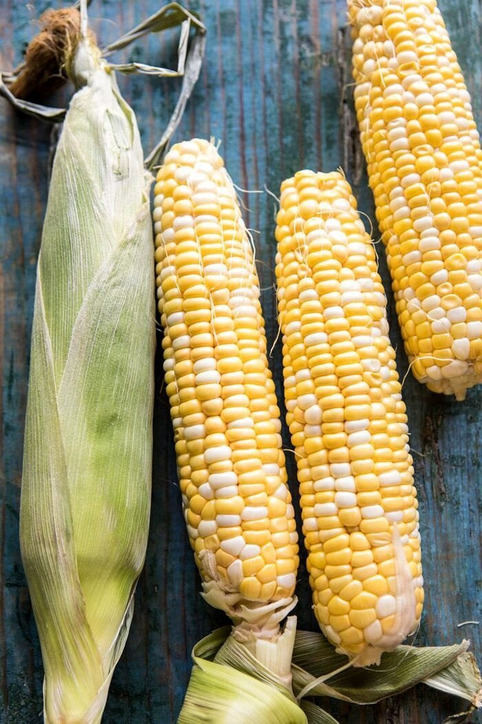 overhead photo of raw corn