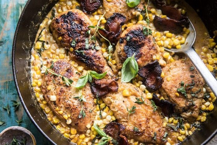 overhead horizontal photo of Garlic Butter Creamed Corn Chicken