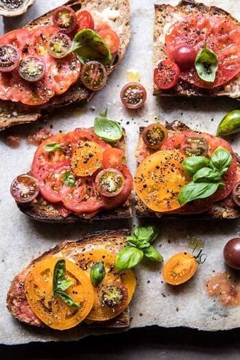 Heirloom Tomato, Basil, and Manchego Toast | halfbakedharvest.com #tomatoes #basil #easyrecipes #summerrecipes