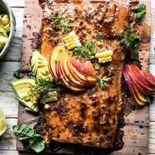 Honey Ginger Cedar Plank Grilled Salmon with Avocado Salsa.