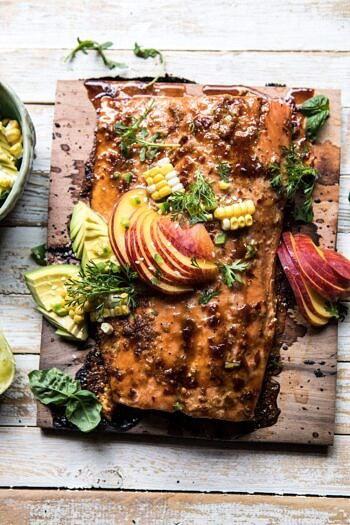 Honey Ginger Cedar Plank Grilled Salmon with Avocado Salsa.
