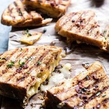 Honey, Peach, and Brie Panini with Bacon Butter.