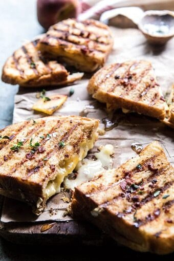 Honey, Peach, and Brie Panini with Bacon Butter | halfbakedhavrest.com #grilledcheese #peaches #easyrecipes #summer