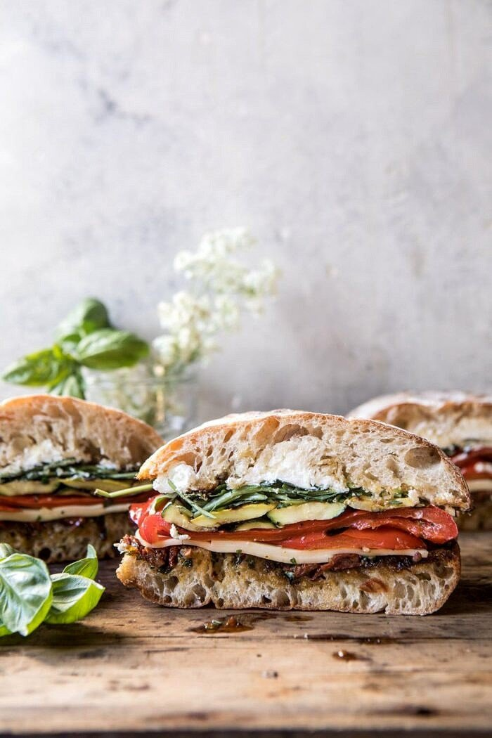 front on far out photo of Marinated Veggie Cheese Sandwich with Sun-Dried Tomato Pesto
