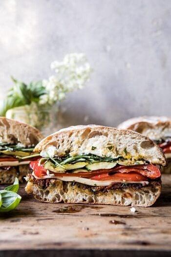 Marinated Veggie Cheese Sandwich with Sun-Dried Tomato Pesto.