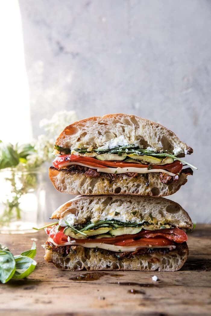 front on photo of two Marinated Veggie Cheese Sandwiches with Sun-Dried Tomato Pesto stacked on top of each other