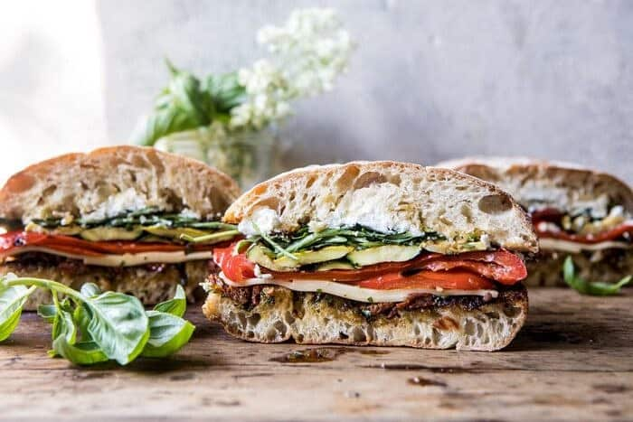 Marinated Veggie Cheese Sandwich with Sun-Dried Tomato Pesto | halfbakedharvest.com #easyrecipe #summer #sandwhich #healthyrecipes #dinner #easy #lunch