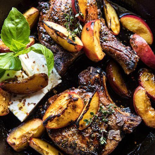 Skillet Balsamic Peach Pork Chops with Feta and Basil