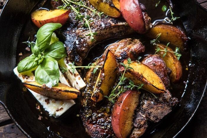 overhead horizontal photo of Skillet Balsamic Peach Pork Chops with Feta and Basil