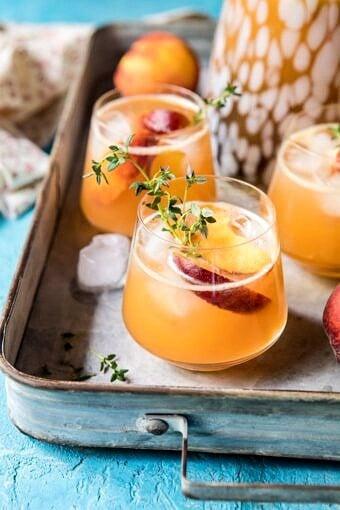 Sweet Bourbon Peach Lemonade | halfbakedharvest.com #peaches #bourbon #lemonade