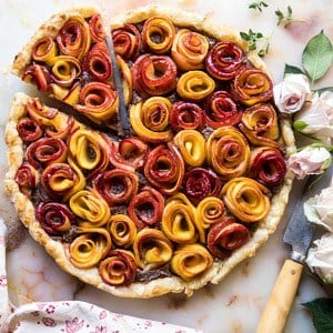 Sweet Peach Rose Tart | halfbakedharvest.com #peach #summerrecipes #tart #summer #pie
