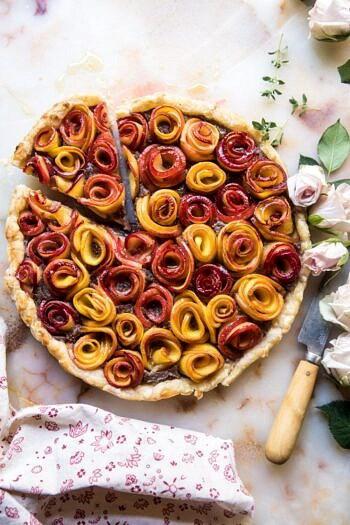 Sweet Peach Rose Tart.