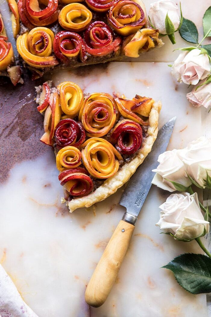overhead close up photo of Sweet Peach Rose Tart triangle with roses in photo