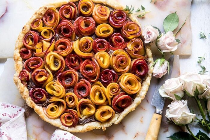 overhead horizontal photo of Sweet Peach Rose Tart