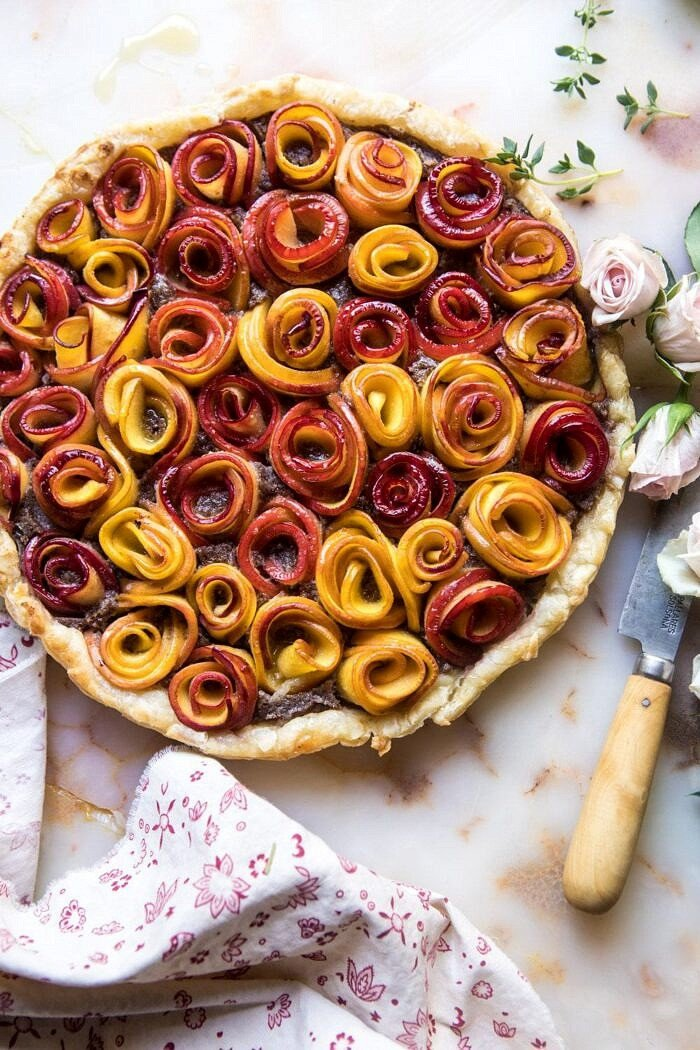 overhead photo of whole Sweet Peach Rose Tart