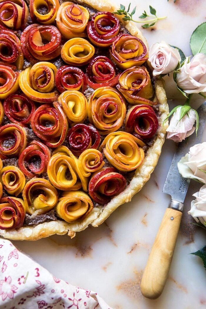 overhead close up photo of whole Sweet Peach Rose Tart