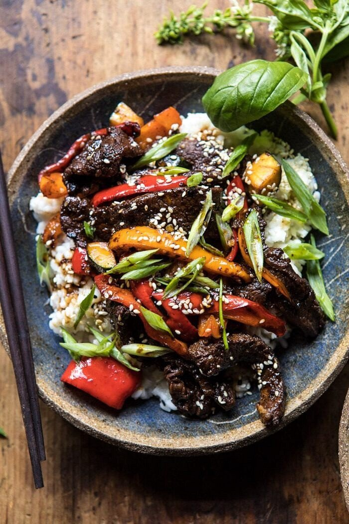 overhead close up photo of 30 Minute Korean Beef and Peppers with Sesame Rice