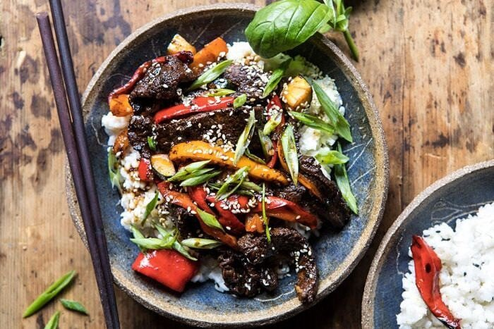 horizontal photo of 30 Minute Korean Beef and Peppers with Sesame Rice