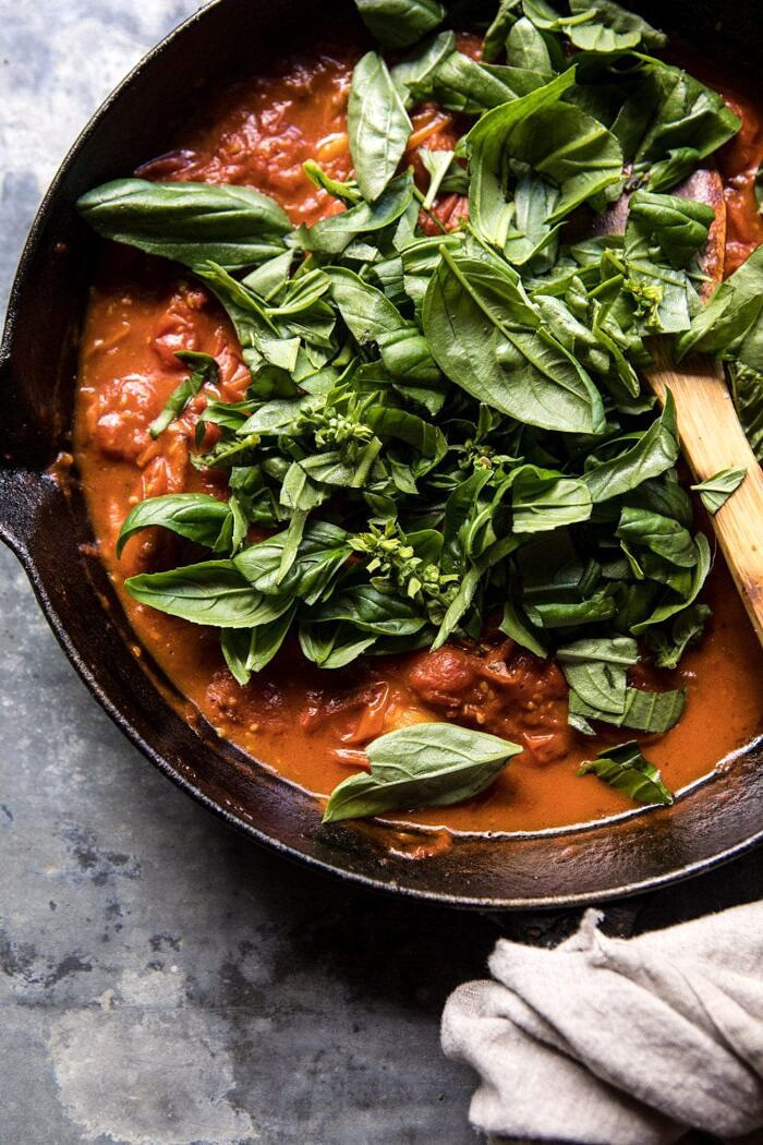 Basil Pomodoro sauce in skillet with basil on top