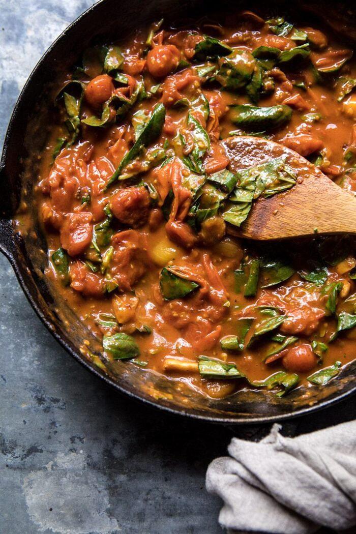 Basil Pomodoro sauce in skillet