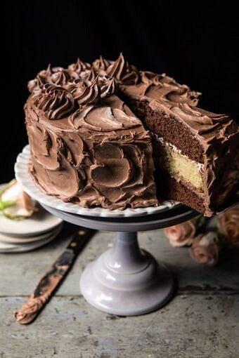 Better Together Chocolate Vanilla Birthday Cake   halfbakedharvest.com #chocolate #cake #birthdaycake #dessert