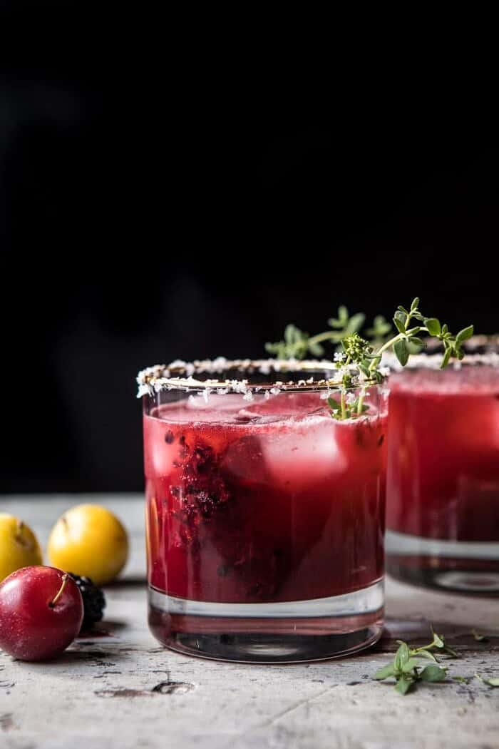 front on photo of Blackberry Thyme Margarita with plums in photo
