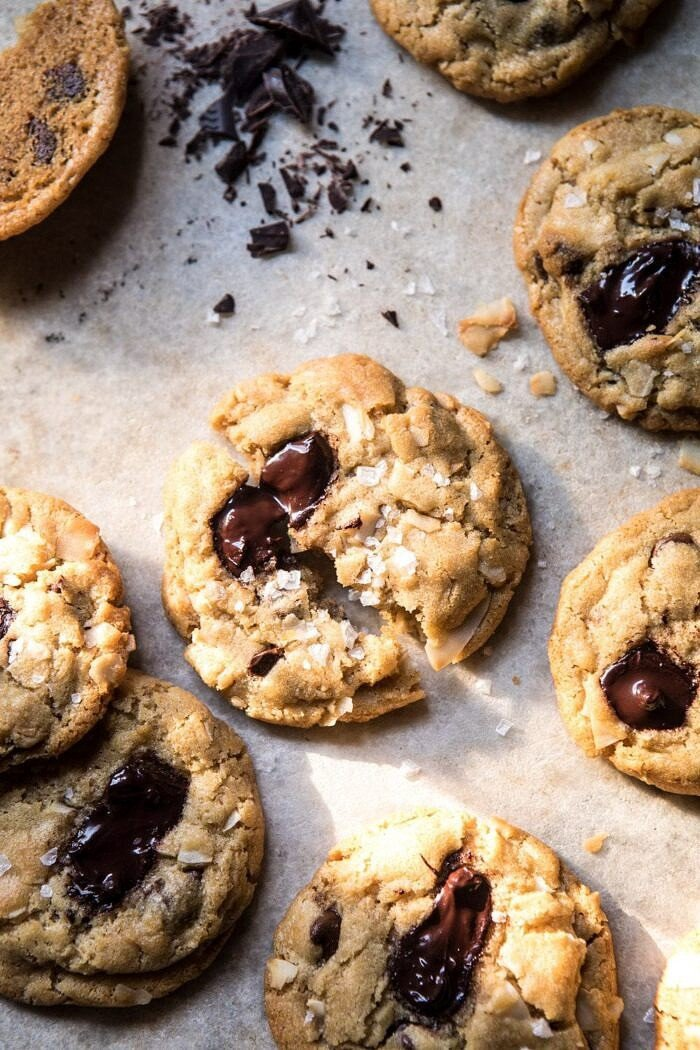 overhead photo of Browned Butter Coconut Chocolate Chip Cookies with sun streaking through