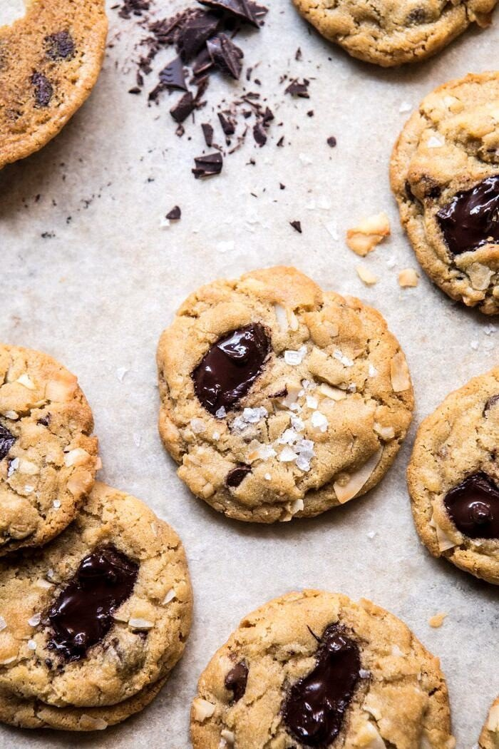 close up overhead photo of Browned Butter Coconut Chocolate Chip Cookies