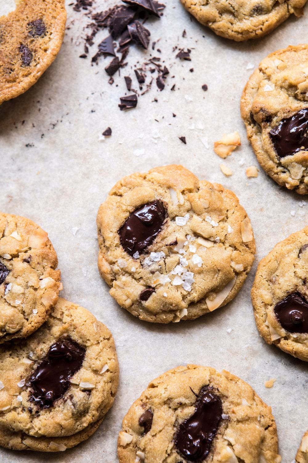 Browned Butter Coconut Chocolate Chip Cookies | halfbakedharvest.com #cookies #chocolate #dessert #brownbutter