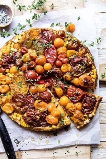 Caramelized Corn and Tomato Tarte Tatin | halfbakedharvest.com #simple #east #tomatoes #summer #tomatotart