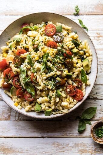 Corn, Tomato, and Avocado Pasta Salad | halfbakedharvest.com #pasta #summer #pastasalad #easy