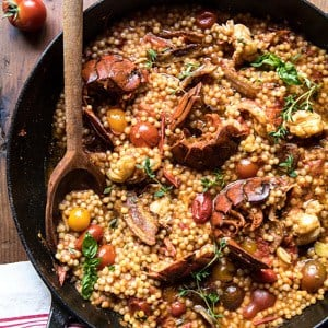 One Pot Tomato Basil Lobster and Herbed Pearl Couscous | halfbakedharvest.com #lobster #tomatoes #easyrecipes #summerrecipes #onepot
