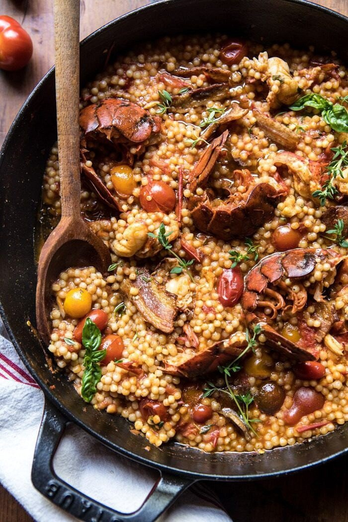 close up overhead photo of One Pot Tomato Basil Lobster and Herbed Pearl Couscous